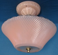 Antique Art Deco Center Post Dish Shade Fixture